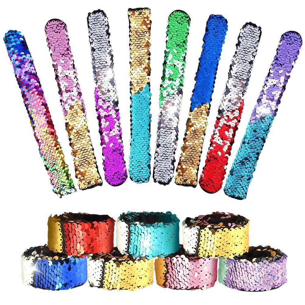 KUUQA 16 Pcs Magic Sequins The Mermaid Bracelets 2-Color Sequin Reversible Glitter Slap Bracelets Charms Wristband for Kids Little Mermaid Birthday Party Favors Bags Supplies (Random Colors) KQ518