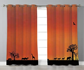 Thermal Insulated Blackout Grommet Window Curtains Wildlife Decor Panorama Of Safari Animals Gulls Reflections In Background At Sunset Burnt Orange Black 2 Panel Set Window Drapes For Living Room Bedr Amazon In Home Kitchen