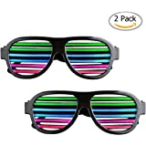 2 Pack Light up LED Glasses Sourcingbay Multi Color Sound & Music Flashing Light Rechargeable Eyeglasses with USB Charger for Kids and Adults in Disco, Party, Halloween, Christmas Gifts