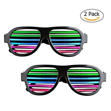 2 Pack Light up LED Glasses Sourcingbay Multi Color Sound & Music Flashing  Light Rechargeable Eyeglasses