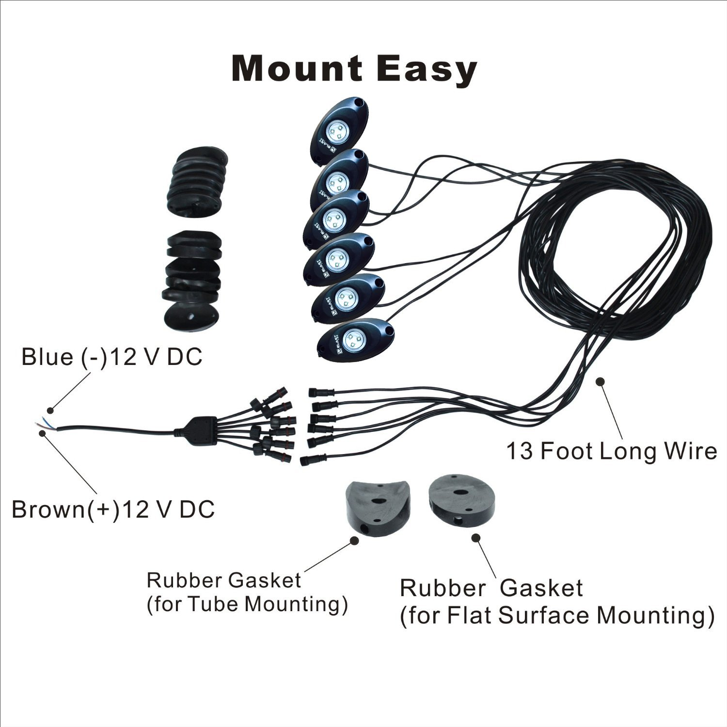 BLAST LED - White / BLUE Boat LED Deck Light Kit - 4pc BLUE Boat LED Deck Lights - 2PC WHITE Boat LED Deck Lights by BLAST