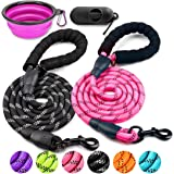 COOYOO 2 Pack Dog Leash 5 FT Heavy Duty - Comfortable Padded Handle - Reflective Dog Leash for Medium Large Dogs with…