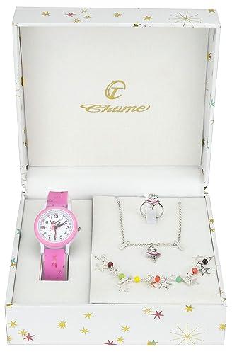 28a14b4acca56 Coffret Cadeau Montre Fille Rose - Parure de Bijoux Danseuse - Collier-Bague-  Bracelet
