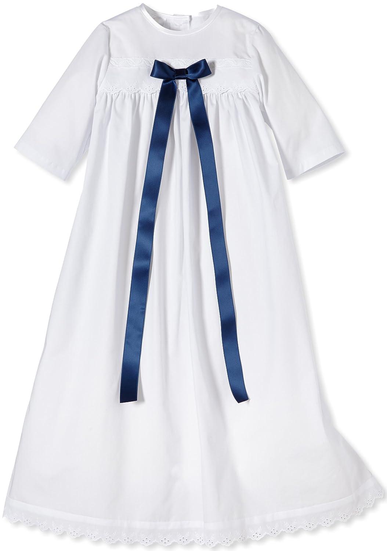 Taufkleid Felix mit dunkelblauer Schleife - unisex - für Mädchen und Jungen geeignet - festliche Taufbekleidung aus