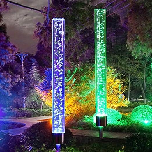WANG XIN 2 Piezas Luces solares de jardín Exterior cambiante Solar Burbuja de acrílico Solar Color RGB Alimentado for jardín Patio Patio decoración de Camino: Amazon.es: Hogar