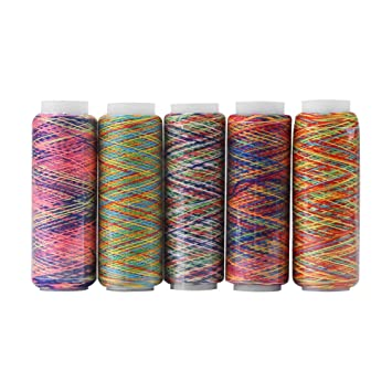 Hilos de Multicolores 5 Bobinas de Hilo de Poliéster Hilo de Coser de Bordado Hilos Abigarrado
