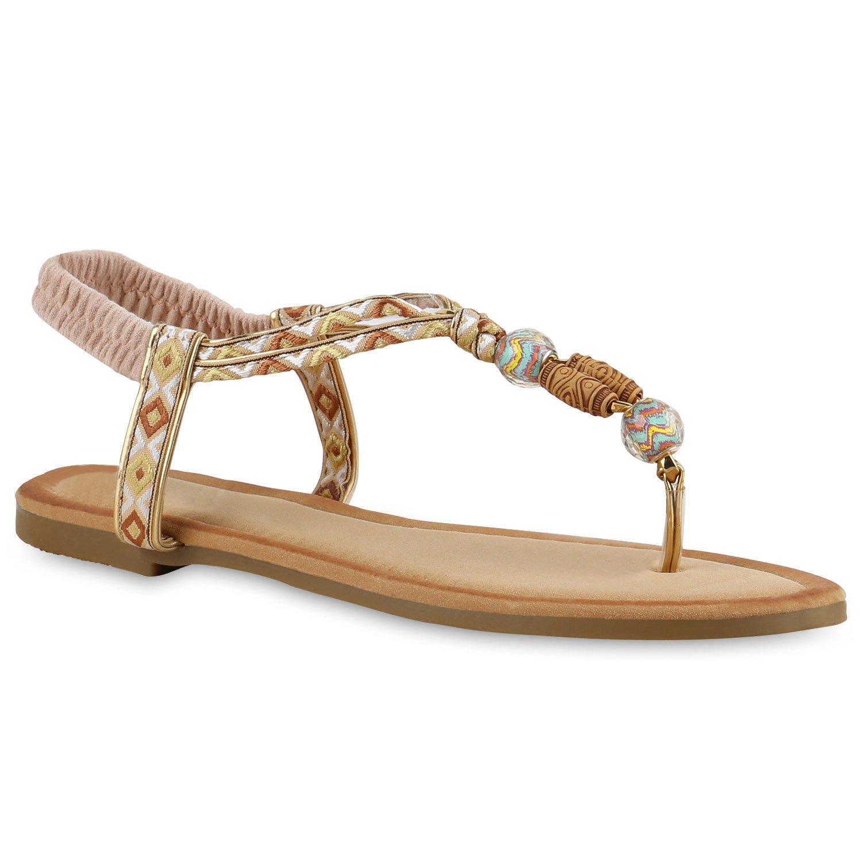 Stiefelparadies Damen Sandalen Zehentrenner Ethno Flandell  36 EU|Creme Verzierung