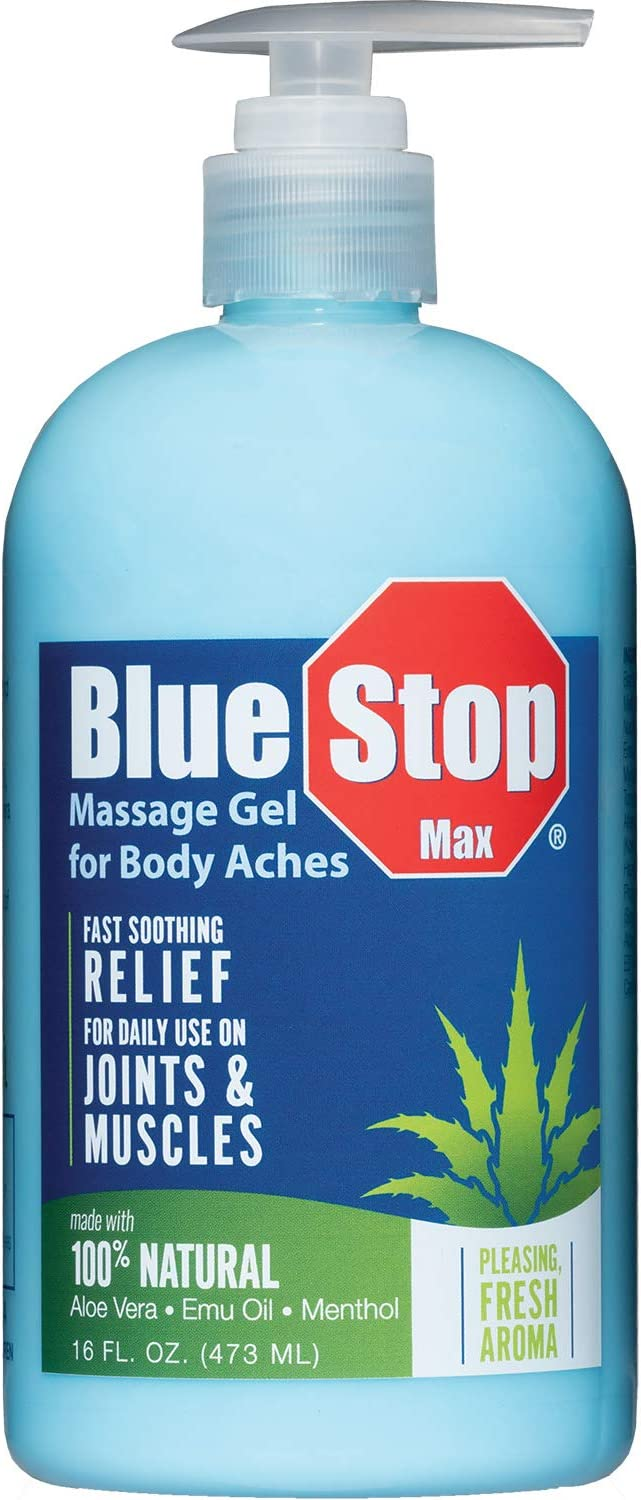 Blue Stop Max® Massage Gel for Body Aches, 16 oz - 3 in 1 Product Relieves Body Aches, Supports Joints and Nourishes the Skin