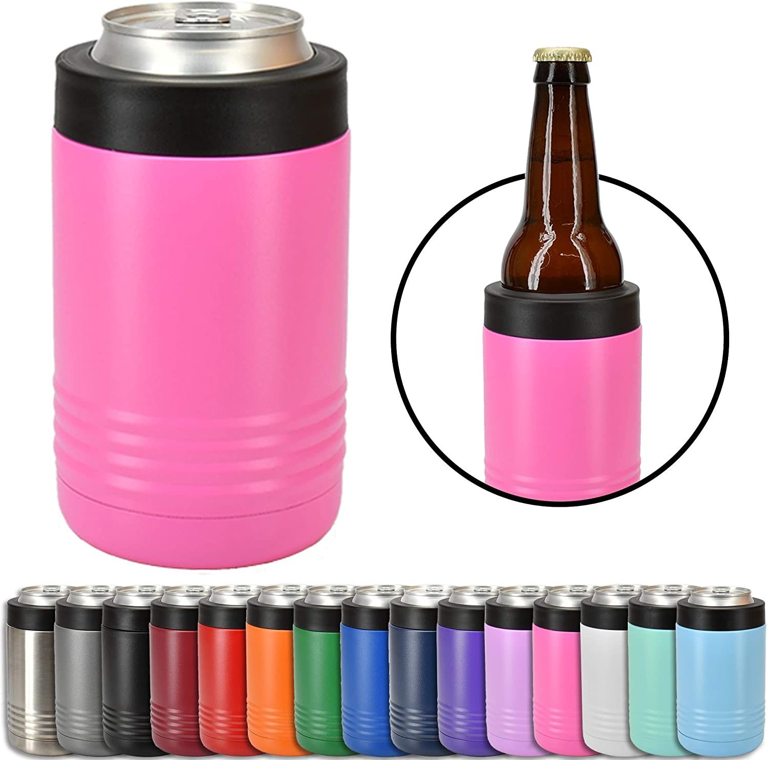 Clear Water Home Goods - 12 oz Stainless Steel Double Wall Vacuum Insulated Can or Bottle Cooler Keeps Beverage Cold for Hours - Powder Coated Pink