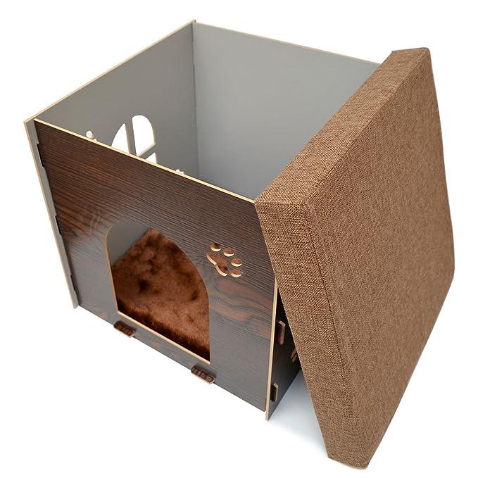 eyepower Caseta para Perro Gato 46x46x46cm cama talla grande L caja cuadrada para mascota con tapa acolchada para sentarse puf escabel Marrón: Amazon.es: ...