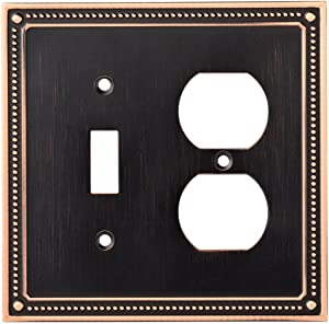 Franklin Brass W35062-VBC-C Classic Beaded Switch/Duplex Outlet Wall Plate / Switch Plate / Cover, Bronze with Copper Highlights
