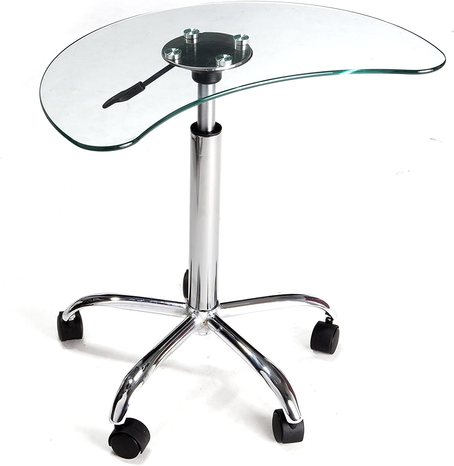 RTA Home and Office Clear Glass and Aluminum Laptop Stand with Casters