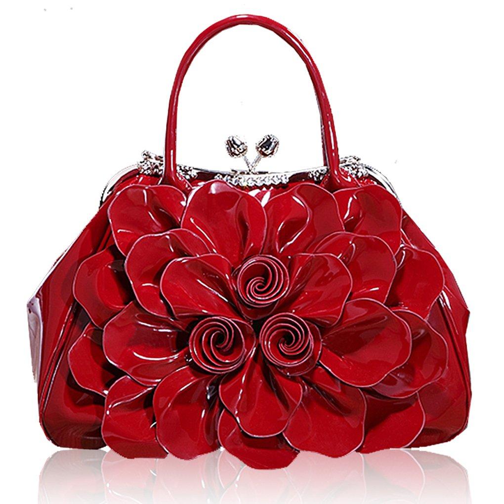 Kaxidy Fashion Lady Women Girl Patent Leather Tote Shoulder Bag Handbag Shopper Hobo Bag Messenger Flowers Handbags (Wine-red)