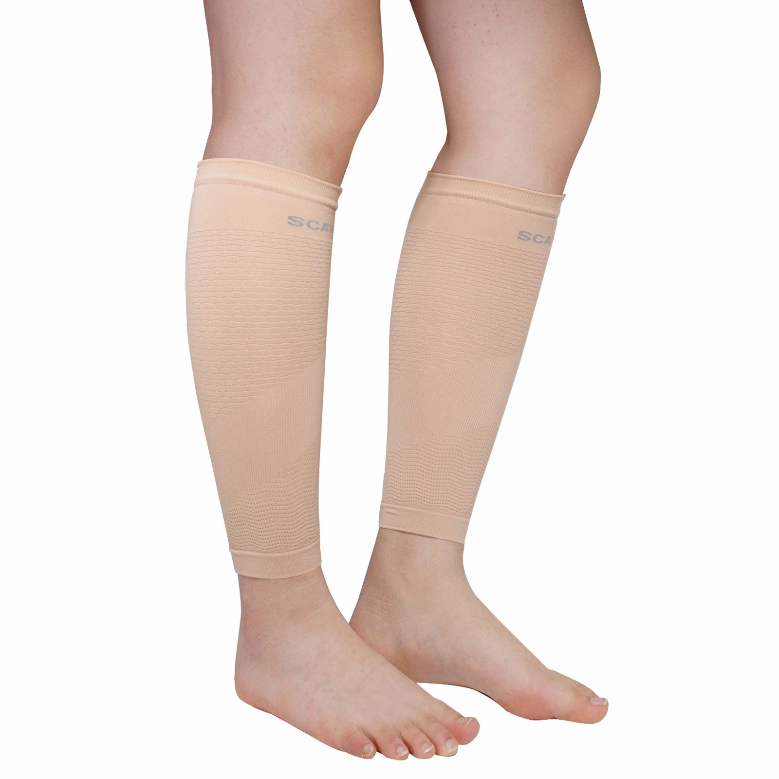 Compression Leg Sleeve Pair for Women Men - Calf Shin Support for Shin Splints and Calf Pain Relief Basketball Running Enhance Blood Circulation Two Pieces (Ivory)