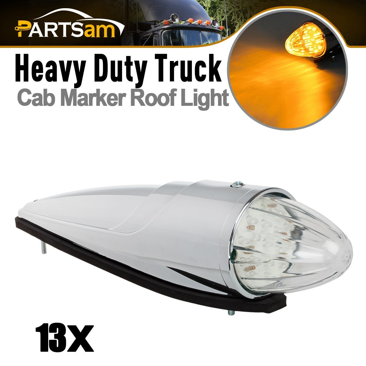 5x 17 LED Amber Cab Marker Clearance Roof Running Top Light For Western Star