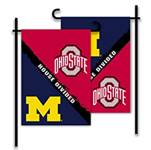 NCAA Ohio State Buckeyes 2-Sided Rivalry House Divided Garden Flag, Team Color