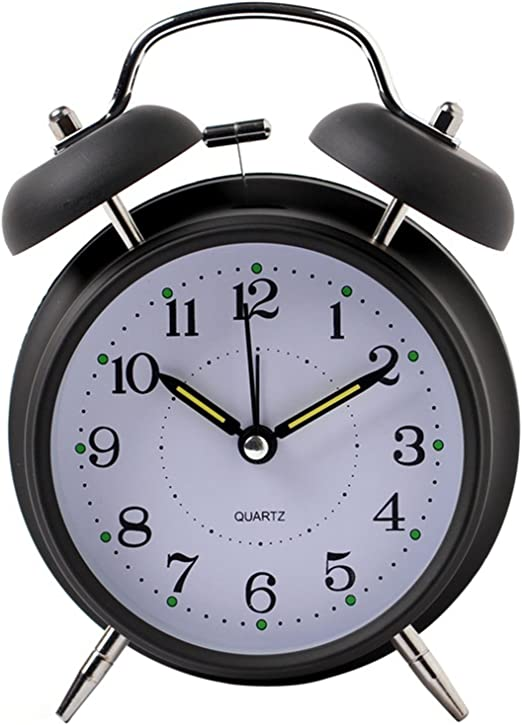 Analog Alarm Clock Vintage Retro Classic Bedroom Bedside Battery Operated Loud