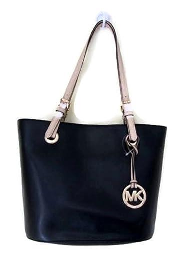 34b67be57b3597 Amazon.com: New Michael Kors Logo Purse Tote Medium Hand Bag Genuine  Leather Black Jet Set: Shoes