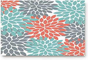 "BULING Custom Door Mat Dahlia Pinnata Flower Teal Coral Gray Decor Indoor Non-Slip Rubber Entrance Rugs for Bathroom 24""(L) x 16""(W) Inch"