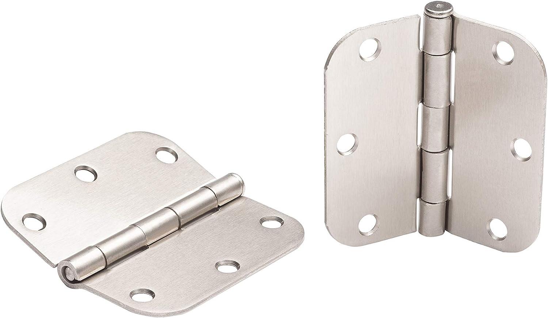 Global Door Controls 3.5 in. x 3.5 in. Satin Nickel Plain Bearing Steel Hinge with 1/4 in. Radius - Set of 2