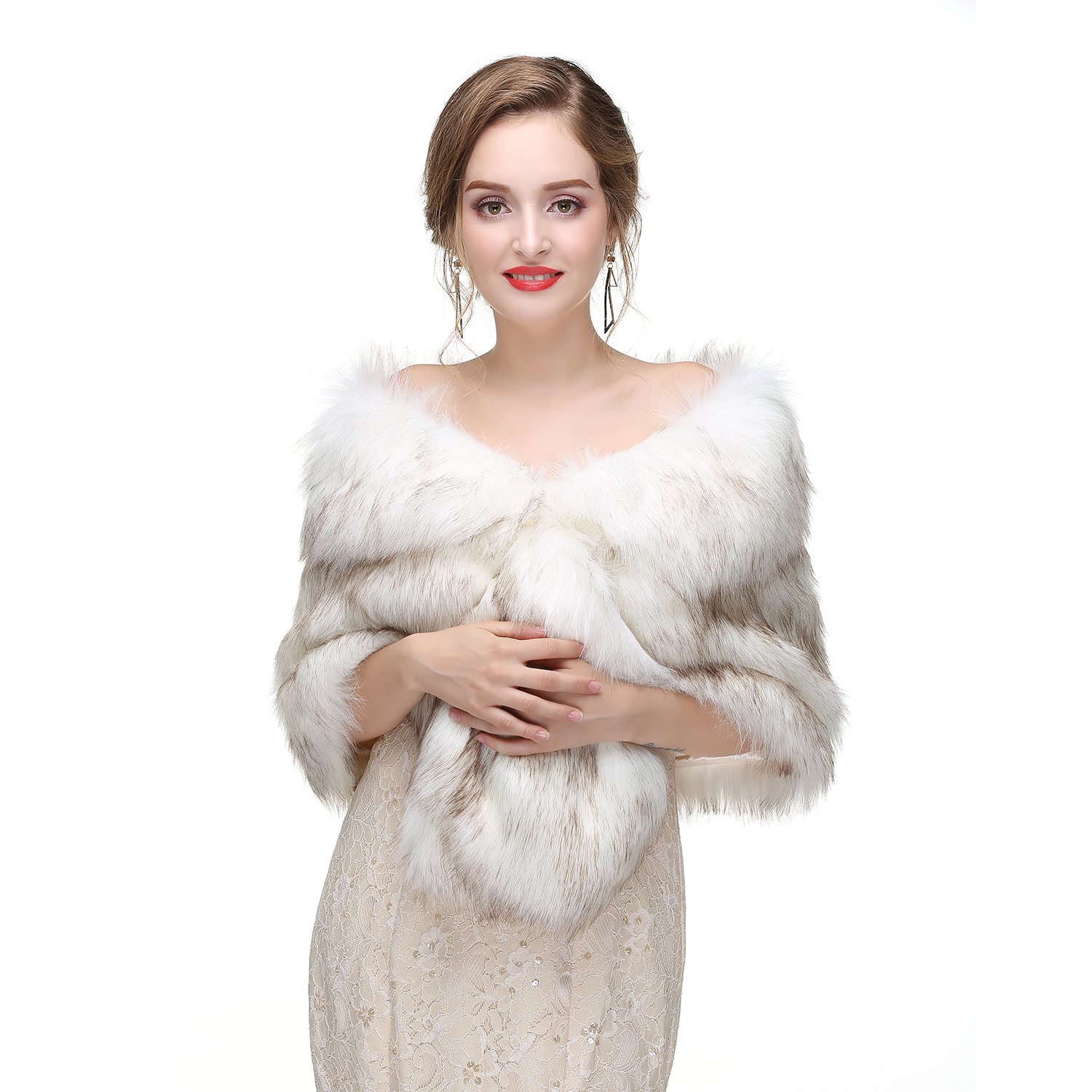 Leyidress Wedding Women Faux Fox Fur Wraps Shawls Stoles Cape Shrug for Bridal Evening Party by Leyidress