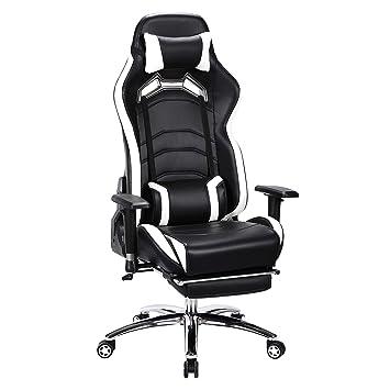 Woltu® Racing silla bs22ws Gaming silla oficina silla escritorio silla asiento deportivo con reposacabezas y
