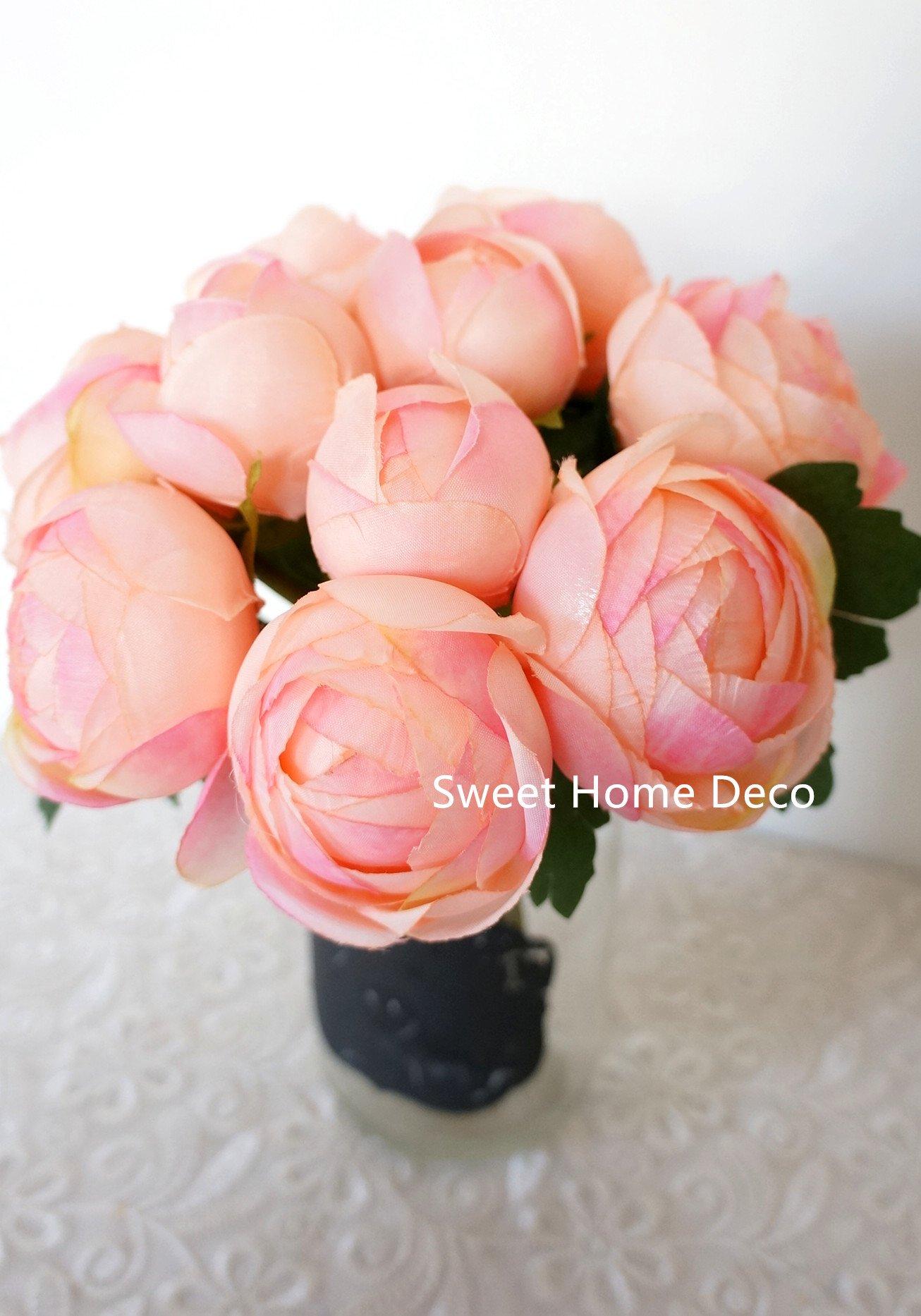 Sweet-Home-Deco-9-Soft-Silk-Ranunculus-Flower-Bouquet-10-Stems10-Flower-Heads-WeddingHome-Decorations-Peach