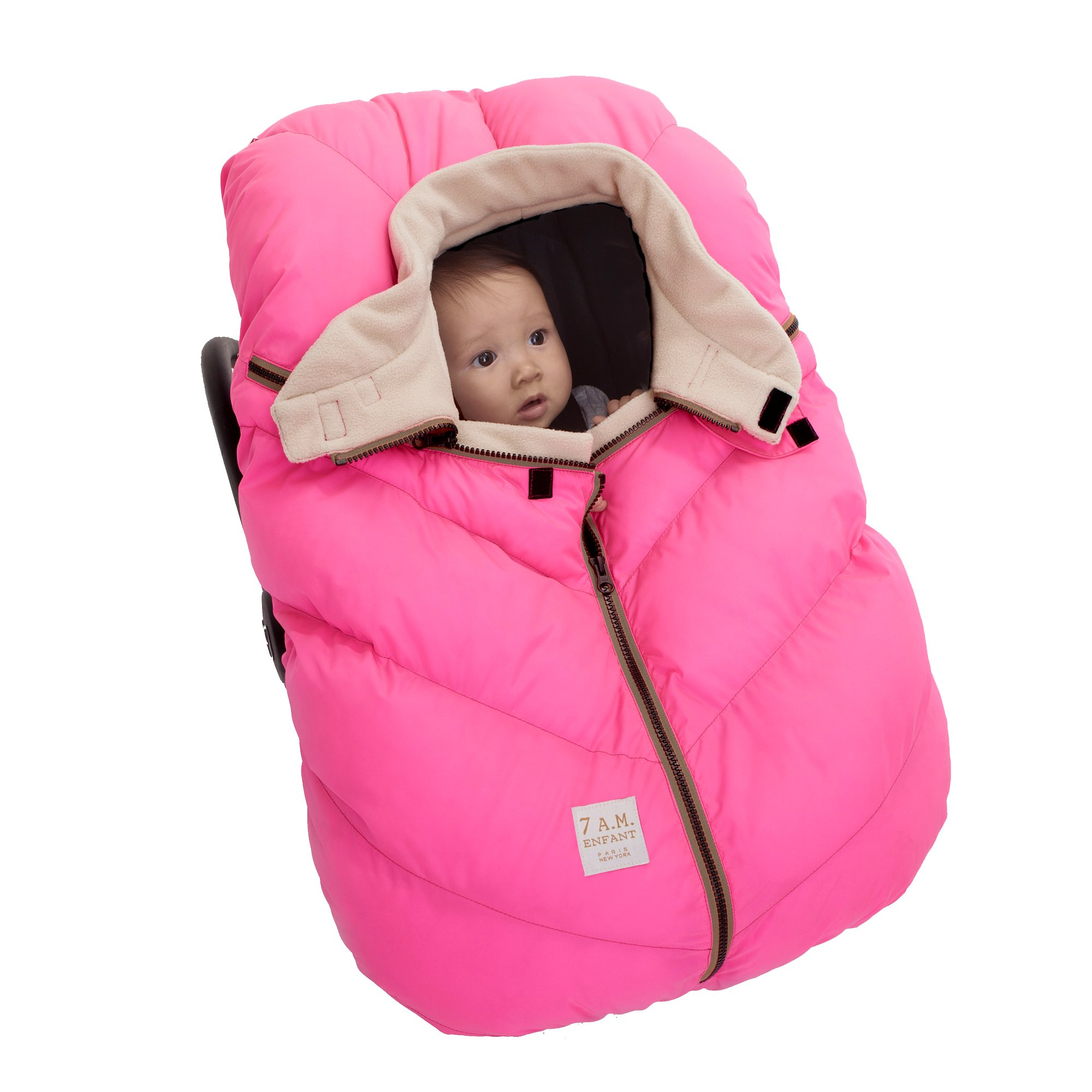 7AM Enfant Car Seat Cocoon: Infant Car Seat Cover Micro-Fleece Lined with an Elasticized Base, Neon Pink