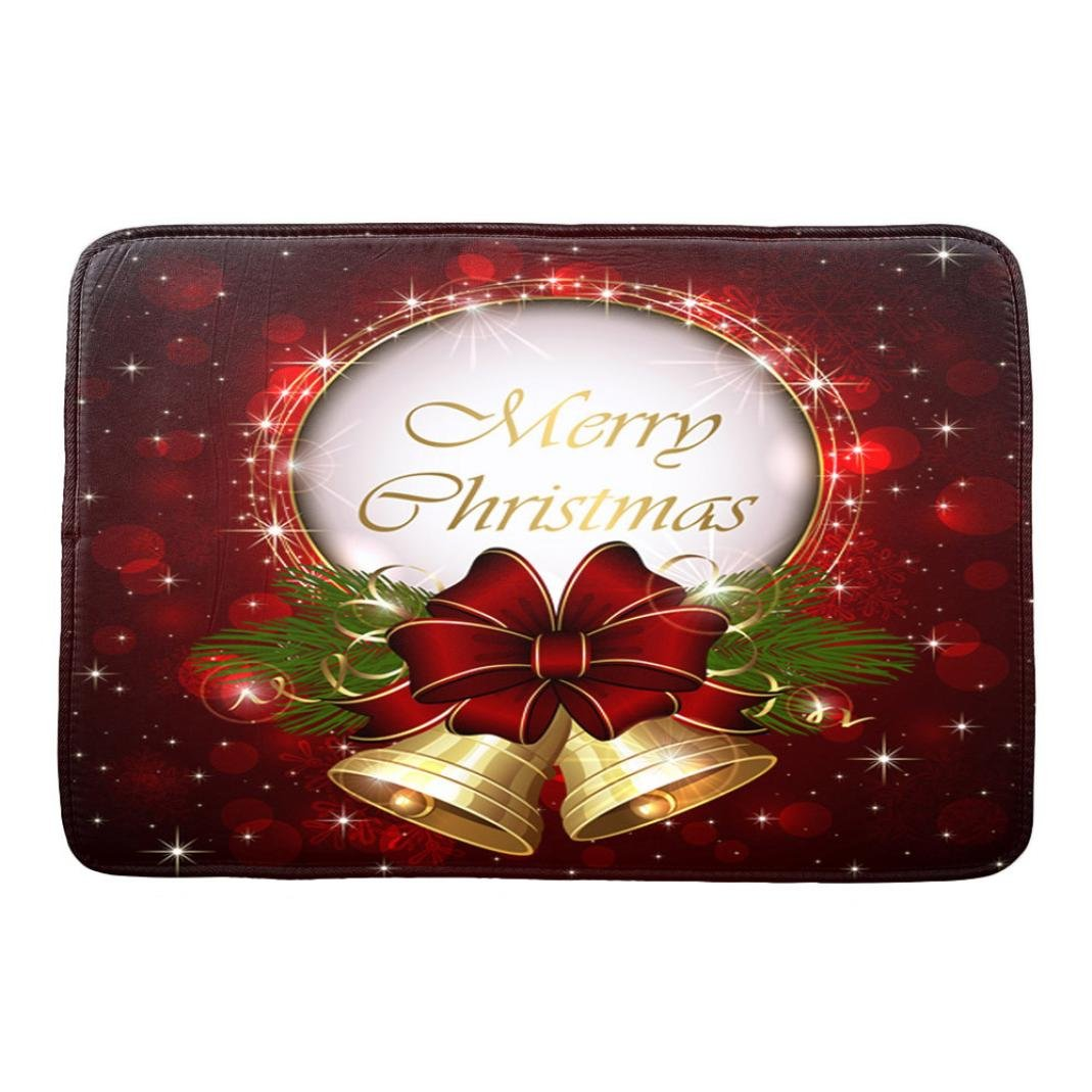 Changeshopping 1PC 40*60cm Christmas HD Printed Non-Slip Bath Mat Absorbent Home Decor (B) Changeshopping 5464