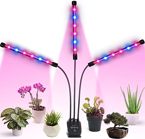 Grow Light, Auto ON Off Every Day with Two-Way Timer 36W Triple Head Grow Lamp for Indoor Plants, High Power LED, 8 Dimmable Levels, 4 8 12H Memory Timing for Hydroponics Greenhouse with 1x Gloves