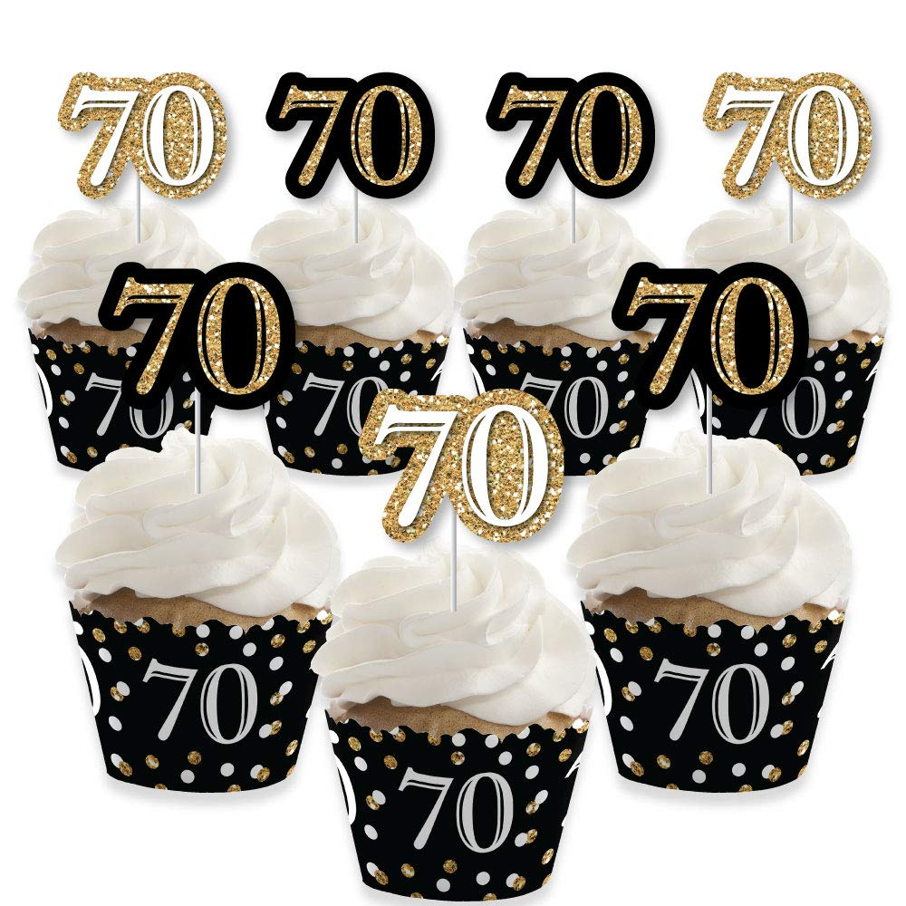 Adult 70th Birthday - Gold - Cupcake Decoration - Birthday Party Cupcake Wrappers and Treat Picks Kit - Set of 24 by Big Dot of Happiness