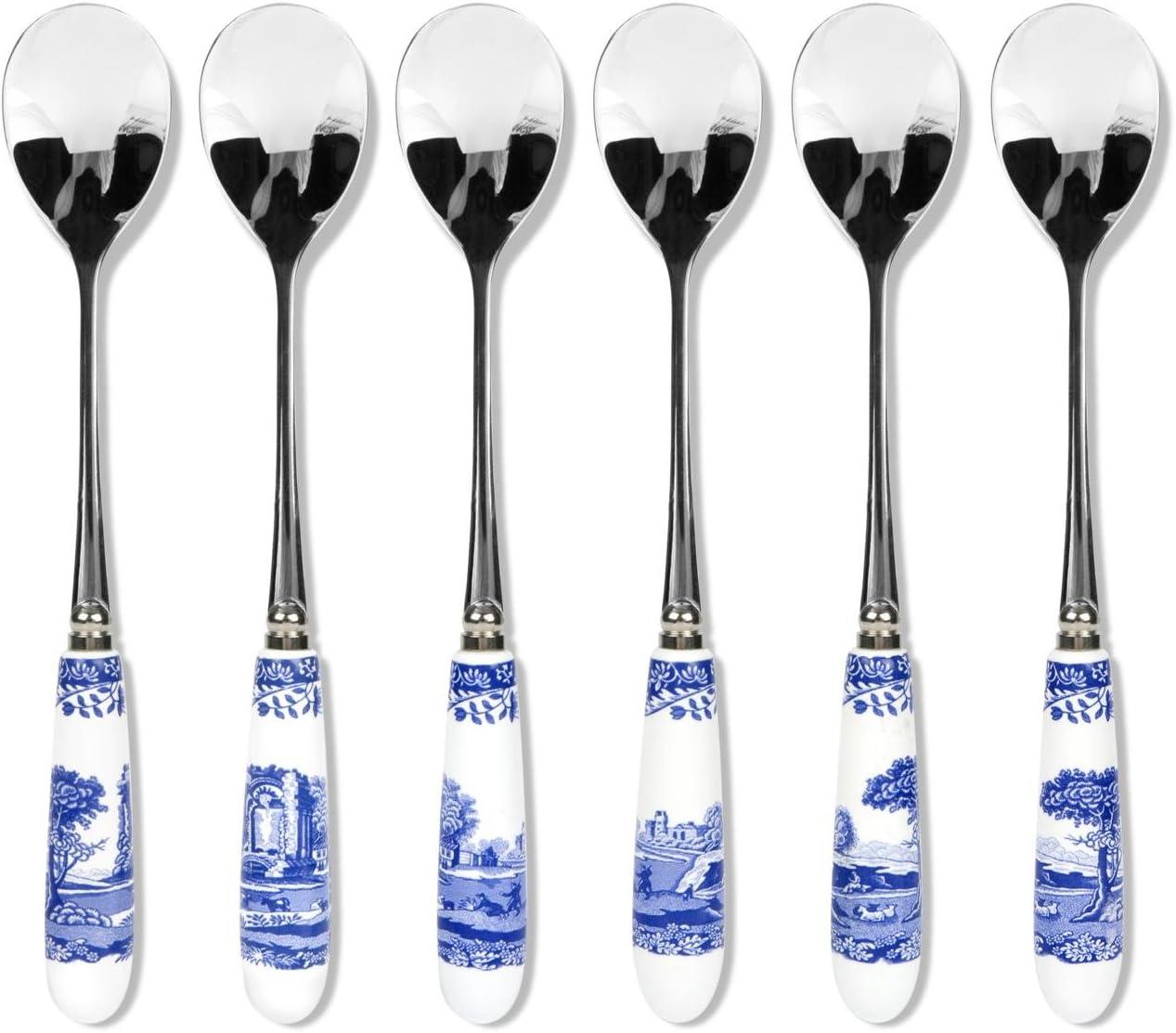 Blue Italian 15/cm porcelana y cucharas de t/é de acero inoxidable 6/unidades color azul y blanco dise/ño floral