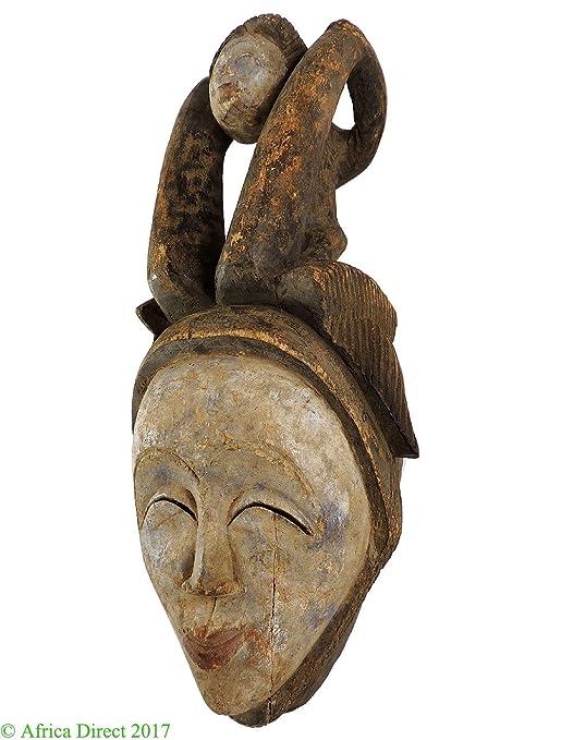 Punu Maiden espíritu máscara con niño mukudji Gabón arte africano ...