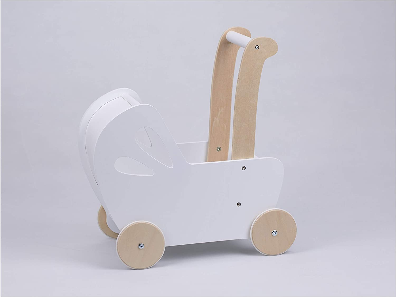 LINE Baby Doll Wooden Pram in White, Toy