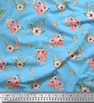 3473515c6c55 Soimoi Blau Viskose Chiffon Stoff Mignon Dahlien   Pfingstrose Blumen-  Drucken nähen Stoff 1 Meter