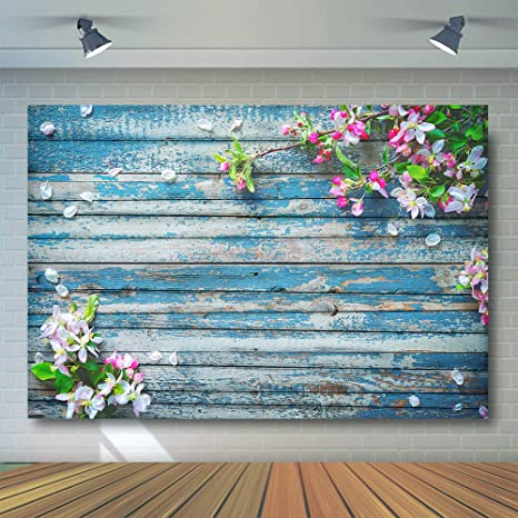 Comophoto 7x5ft Rustic Wood Floral Photography Backdrop Blue Wooden Texture Board Floor Wall Wedding Flowers Background Bridal Shower Baby Shower