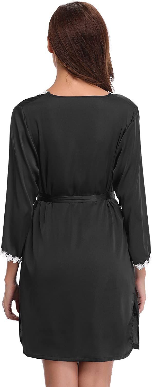 Aibrou Donna Indumenti Lunghi da Notte 2 Pezzi in Raso Elegante Abito da Sposa Kimono Abito con Cintura Nightdress per Loungewear