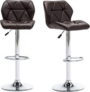 THKSBOUGHT Bar Stools Set of 2 PU Leather Adjustable Bar Stool with Back Swivel Barstools(Brown)