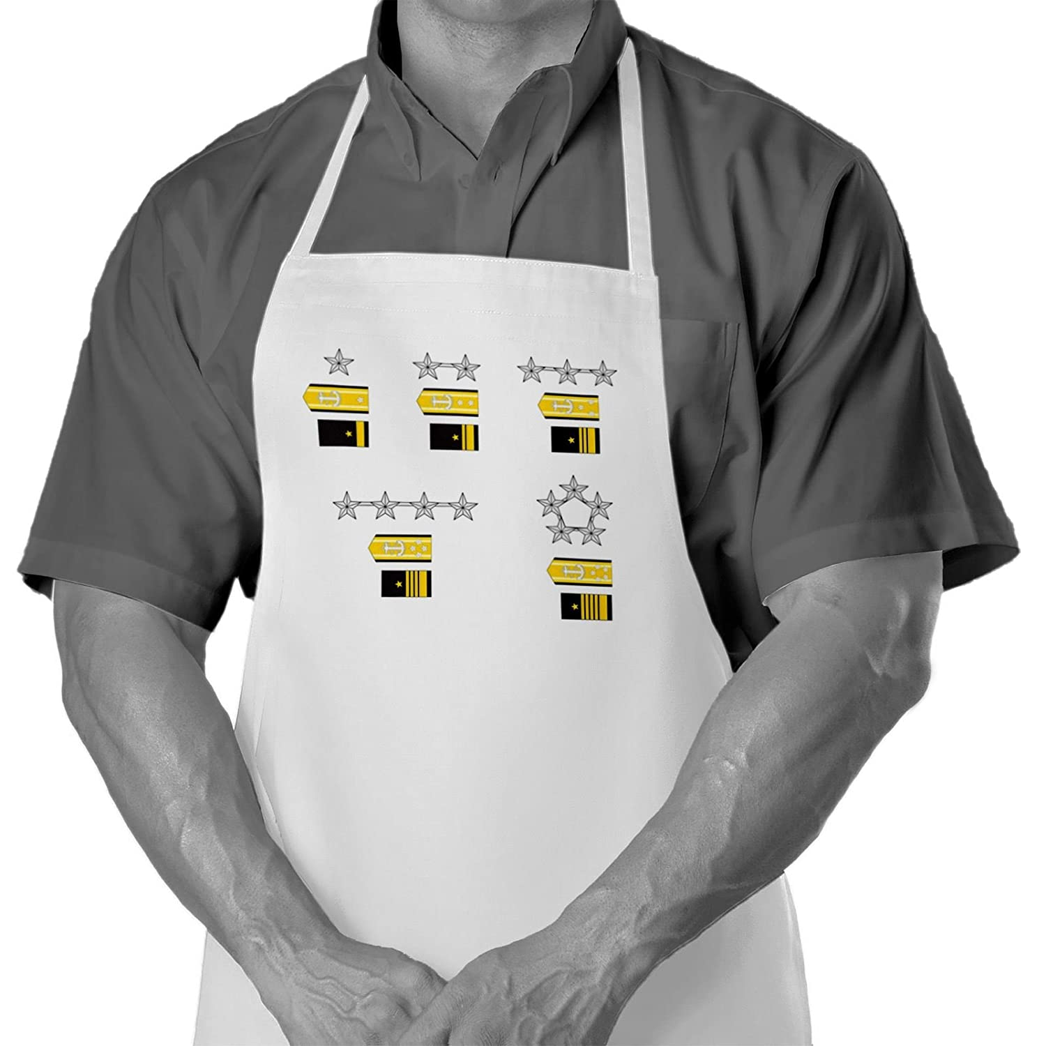 Cooking/Grilling Apron with US Navy, officer rank insignia (admirals) - Durable Spun Polyesther - Softer than cotton