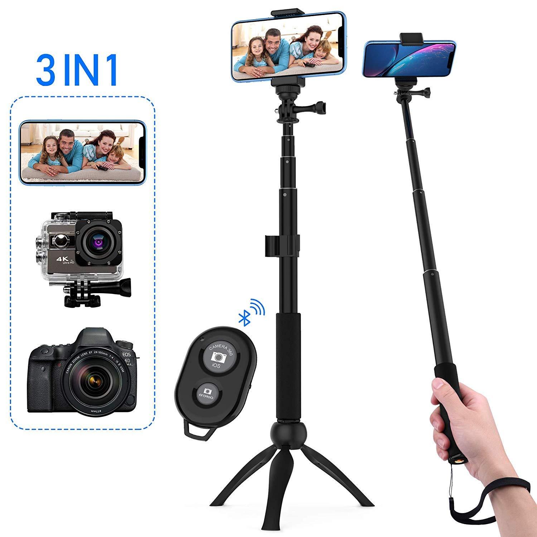 Zttopo Palo Selfie Trípode, Palo Selfie Bluetooth con Control Remoto 360° Rotación Extensible para Gopro,Cámaras Deportiva,iPhone Android Smartphone y ...