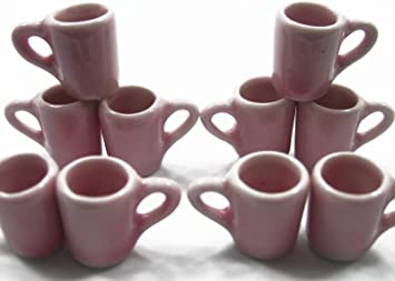 Set 10 Coffee Tea Pink FUNNEL Mugs Cups Dollhouse Miniature Ceramic Supply 3864