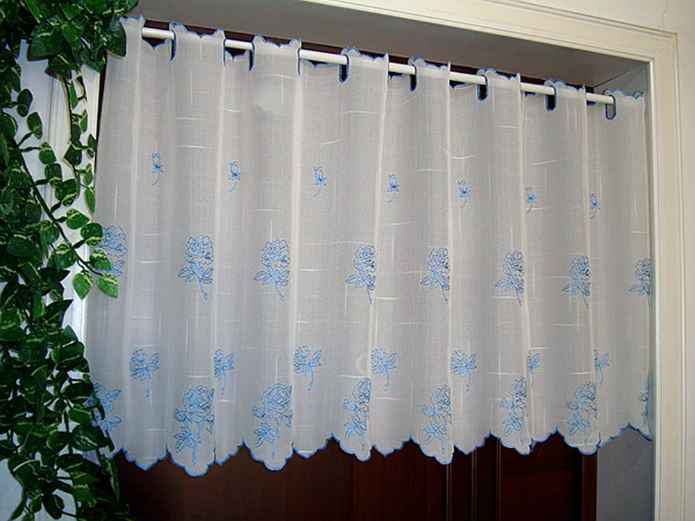Blue Embroidery Flower Peony Valance Concise Cafe Curtain PANDA SUPERSTORE PS-HOM3736171-EMILY02240