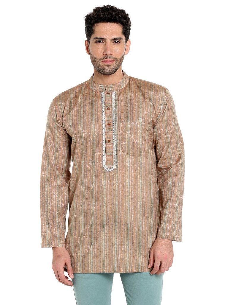 Apparel Men's Cotton Designer Short Kurta Medium Orange