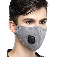 Healthyair Masks PM 2.5 Anti Pollution Mask with Valve Pynogeez Washable Dust Respirator Cotton Mouth Masks with Replaceable 5 Layer Filter (Mask + 2 Filters) (Grey, Large(Men's))