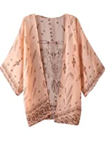 FEITONG Damen Boho Drucken Chiffon Schal Kimono Cardigan 3/4 Ärmel Tops Bluse Cover up