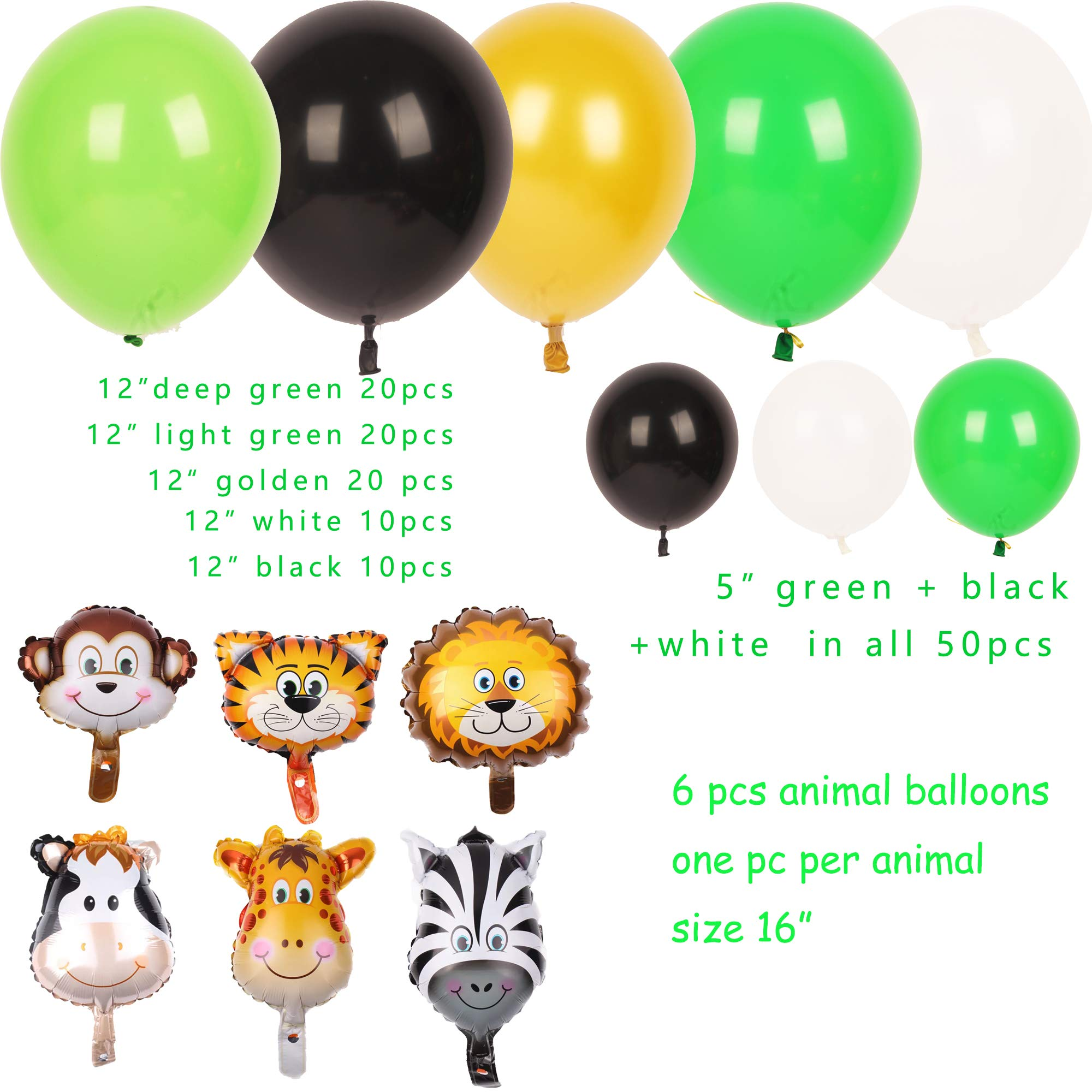 Jungle Safari Theme Party Decorations 174pcs:130 latex balloons,24 Green Palm Leaves, 16 feets Arch Balloon strip tape, 2 Balloon tying tools Safri party Supplies and Favors for Kids Boys Birthday Baby Shower Decor by foci cozi (Image #3)