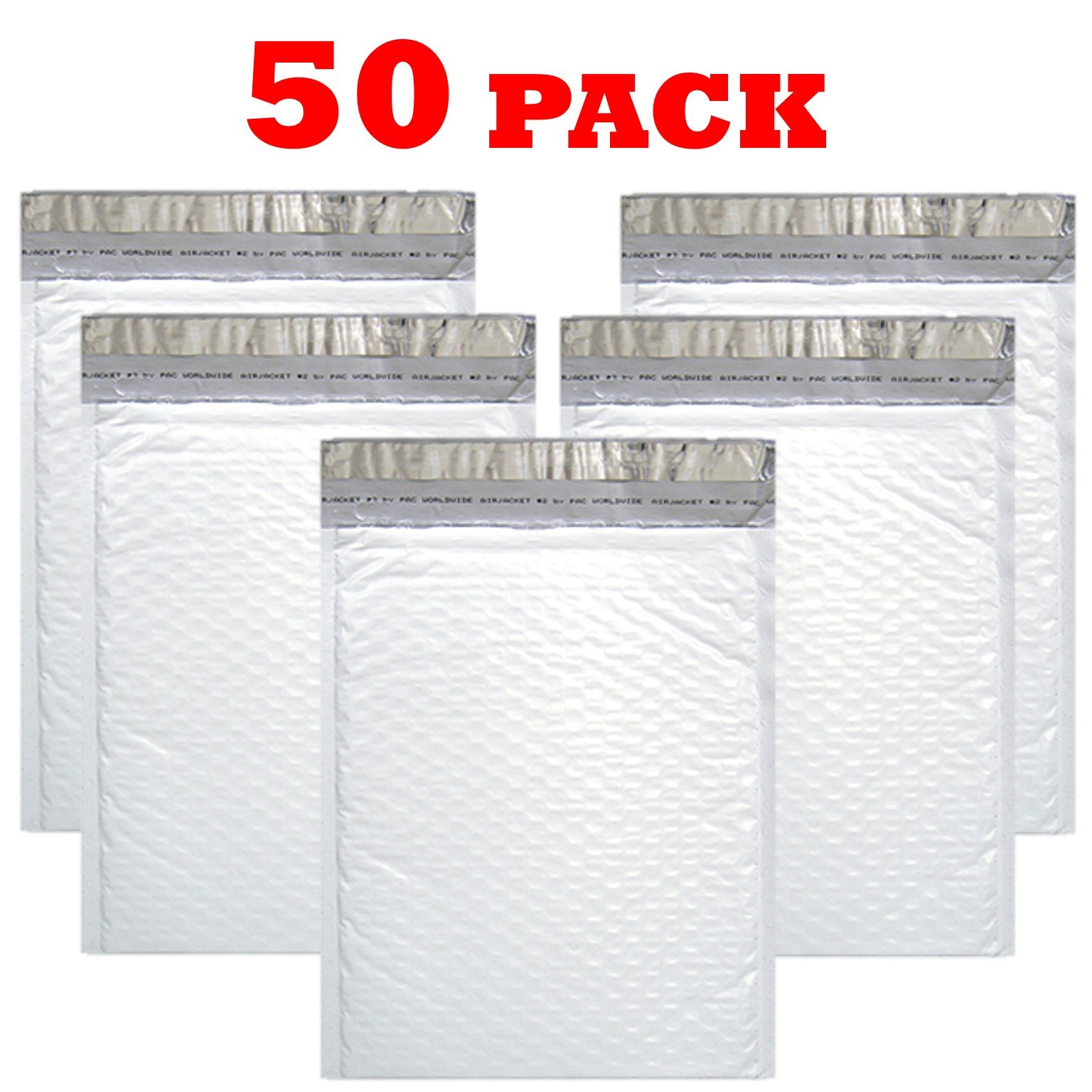 OfficeKit Poly Bubble Mailers #2 8.5X12 inches Shipping Padded Envelopes Self Seal Cushioned Mailing Waterproof Envelope Bags Packaging Materials Supplies 50 Pack