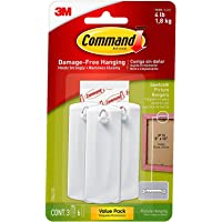 Command Wire-Back Hangers, Decorate Damage-Free, Holds 4 lbs, 3 Hangers, 6 Strips (17042-ES) - (New)