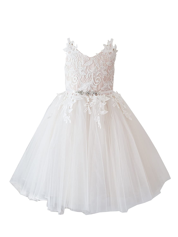 979b8f9c4df Miama Ivory Lace Pink Tulle Straps Wedding Flower Girl Dress Junior  Bridesmaid Dress  Amazon.co.uk  Clothing