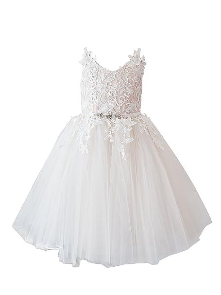 675e7134e35e Miama Ivory Lace Tulle Straps Wedding Flower Girl Dress Junior Bridesmaid  Dress,Ivory,2T